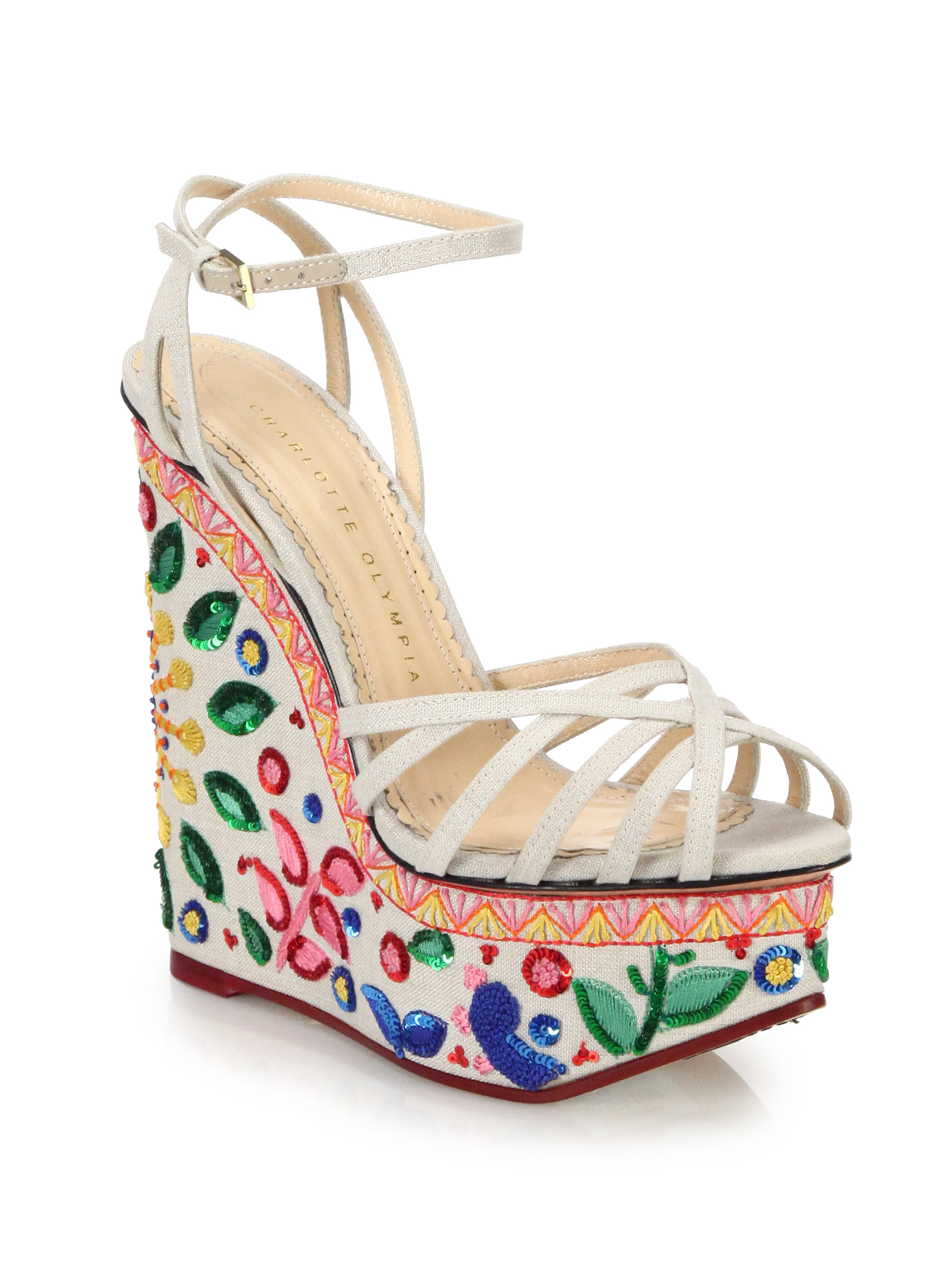 c901302f1f87 Lyst - Charlotte Olympia Celebration Meredith Sequined   Embroidered ...