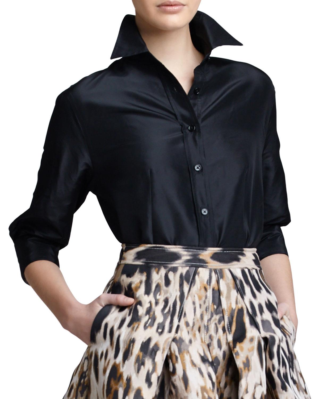 92e90244a2be4 Lyst - Carolina Herrera Classic Silk Taffeta Blouse in Black