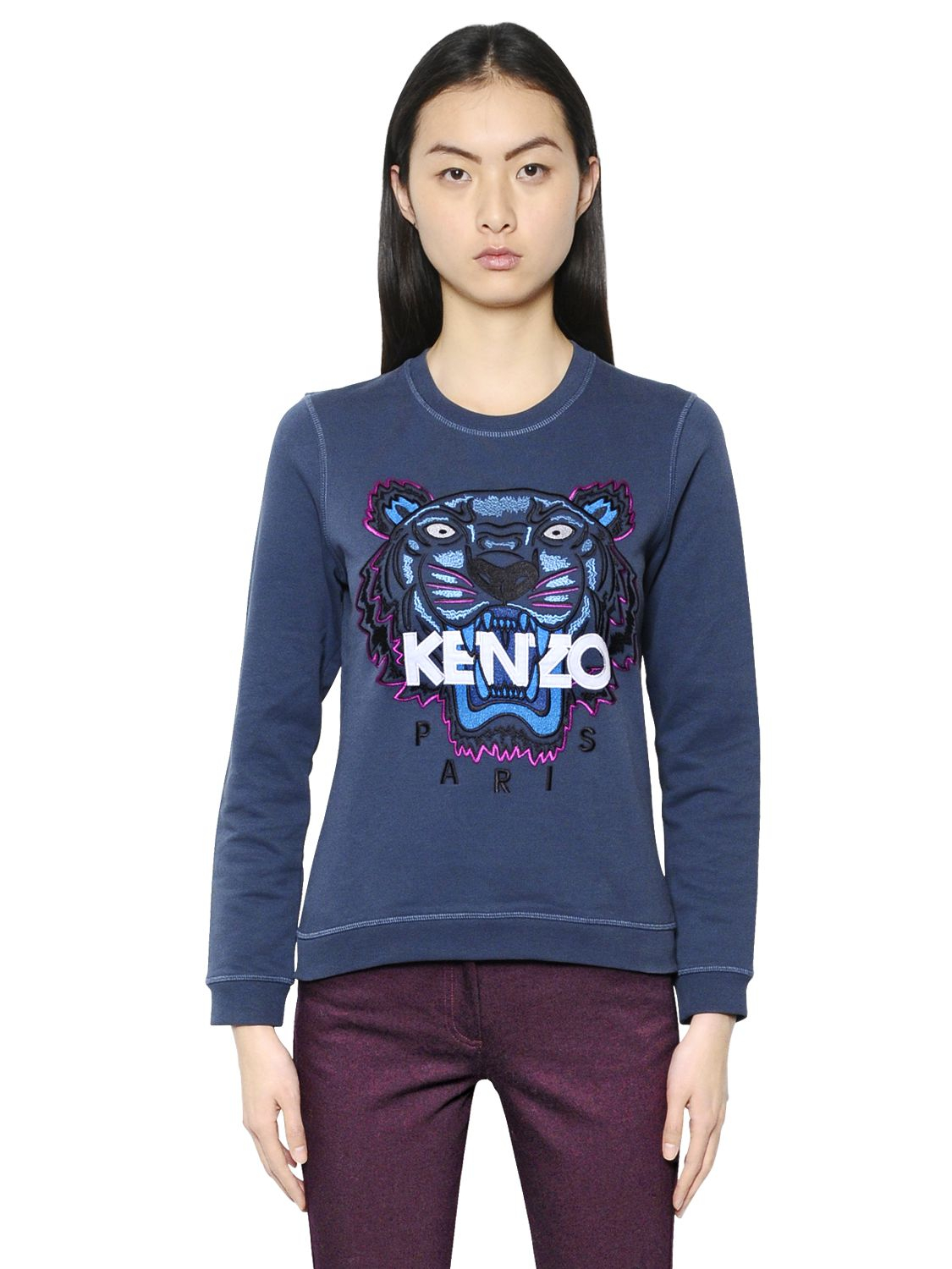 Lyst - KENZO Tiger Embroidered Cotton Sweatshirt in Blue aa71ddcc65