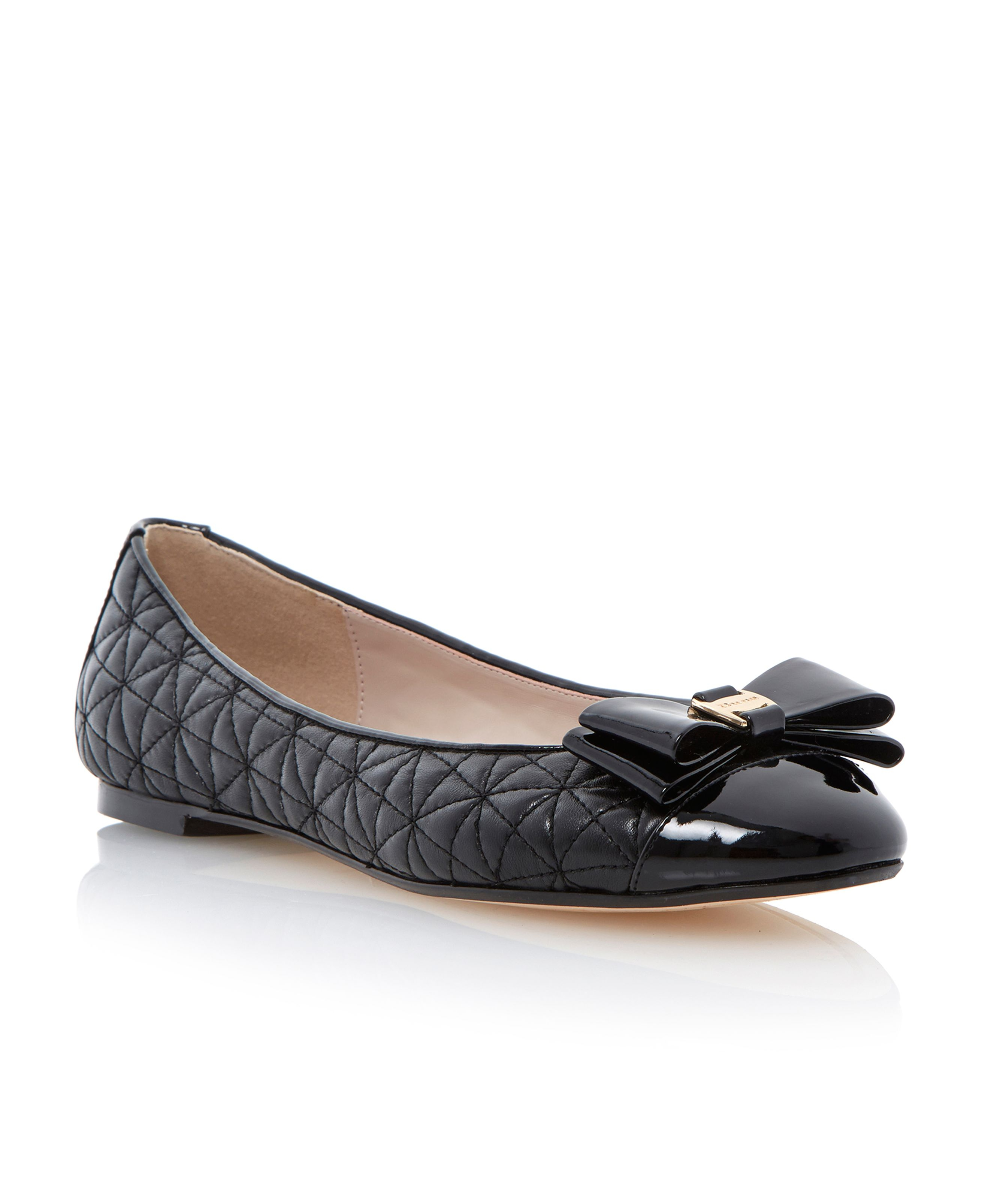 Dune Mittle Leather Flat Round Toe Ballerina Shoes In Black (Black Leather)   Lyst