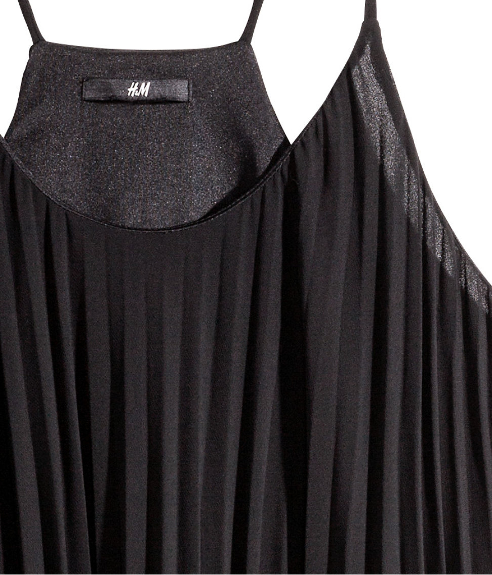 H&amp-m Pleated Dress in Black - Lyst
