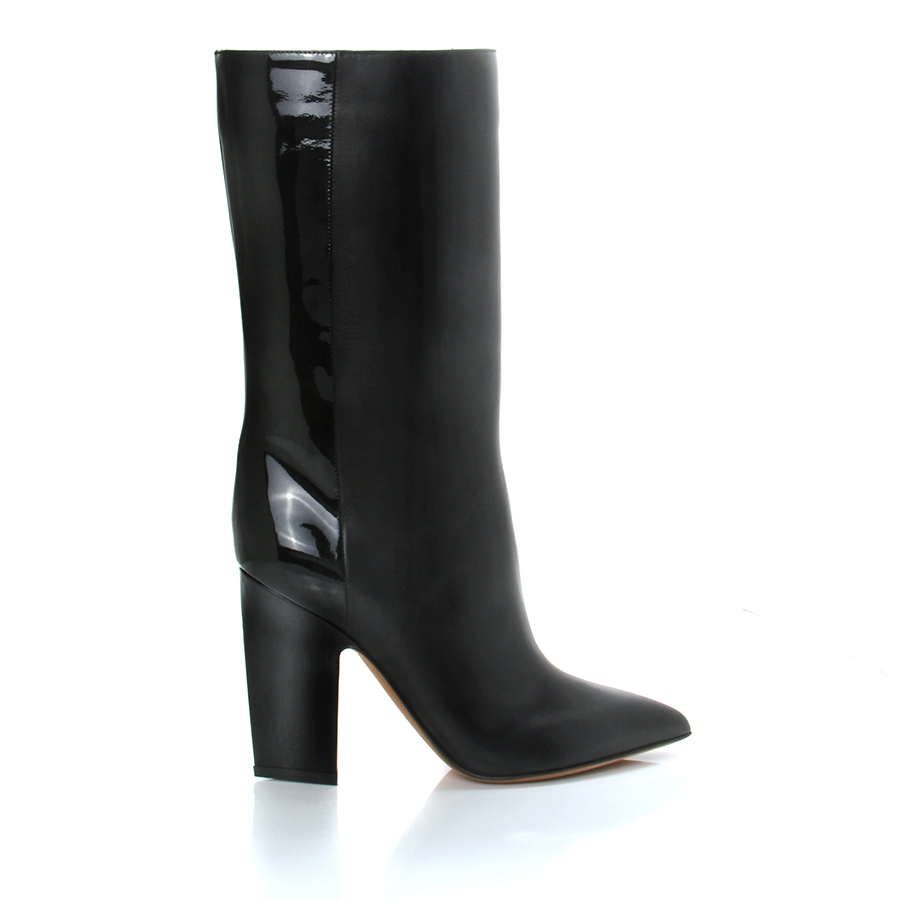 valentino leather and patent mid calf boots in black lyst
