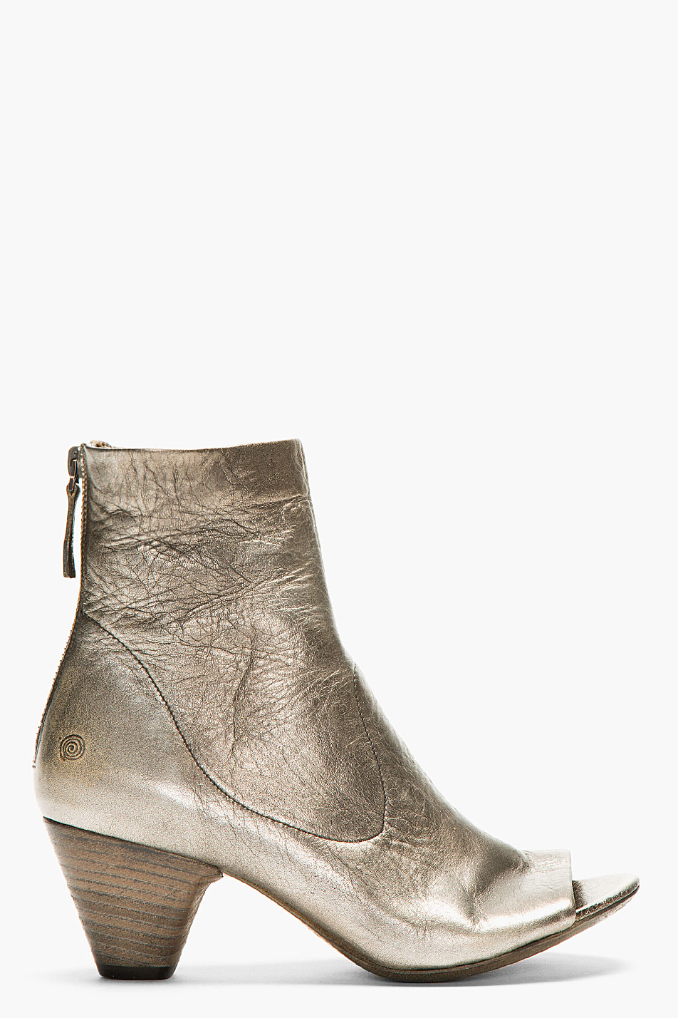 mars 232 ll silver worn leather ankle boots in metallic lyst