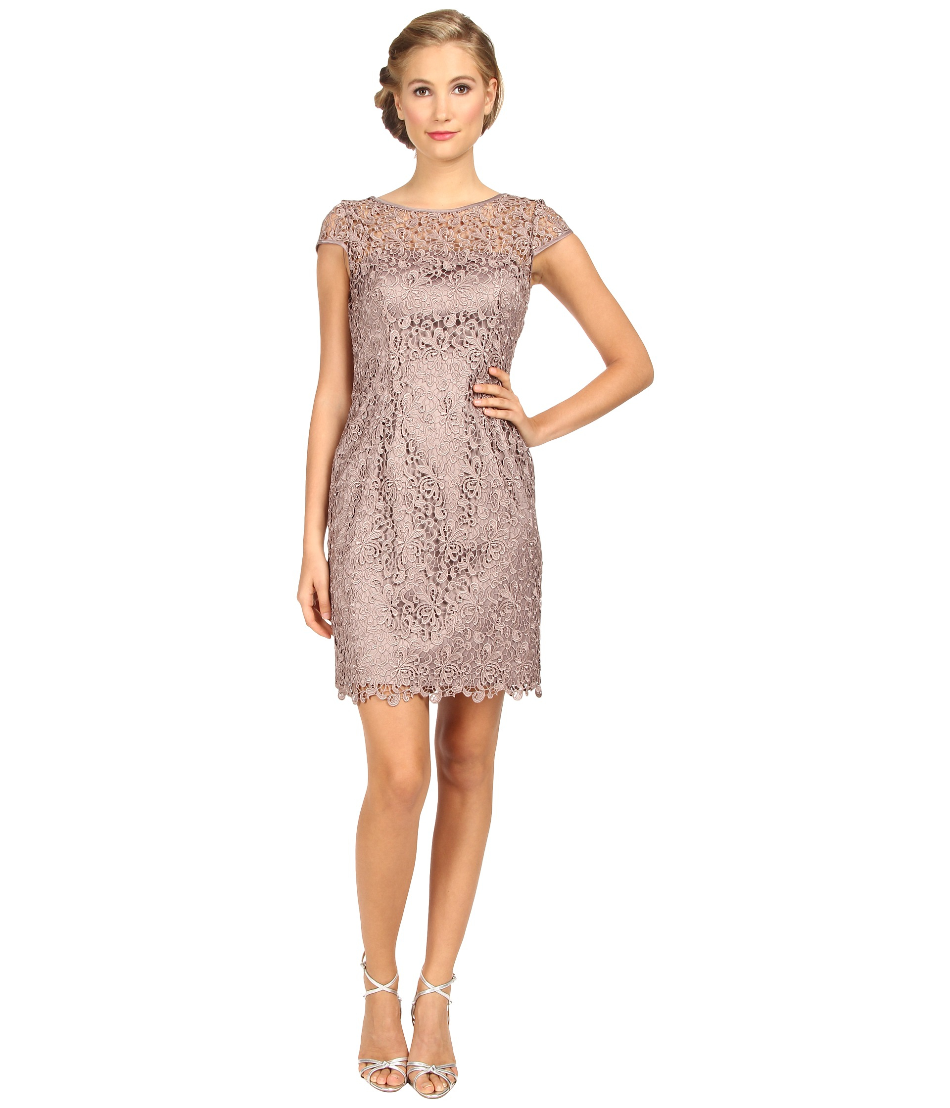 63547d74 Adrianna Papell Womens Lace Sheath Dress Special Occasion