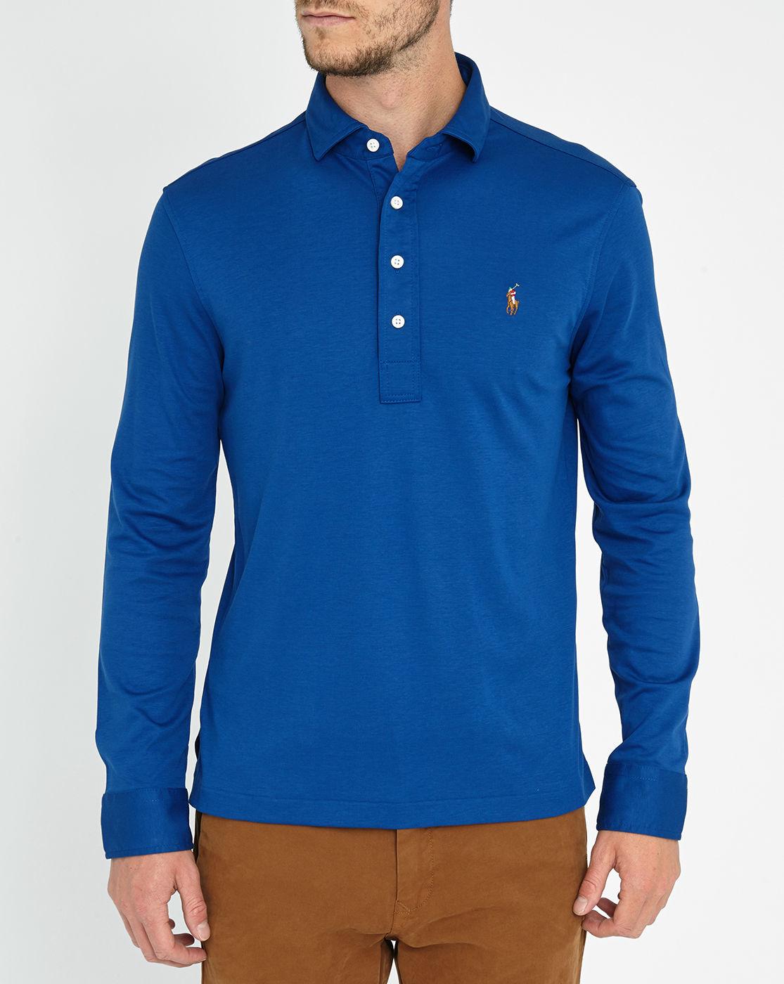 Polo Ralph Lauren Navy Long Sleeve Cotton Jersey Polo