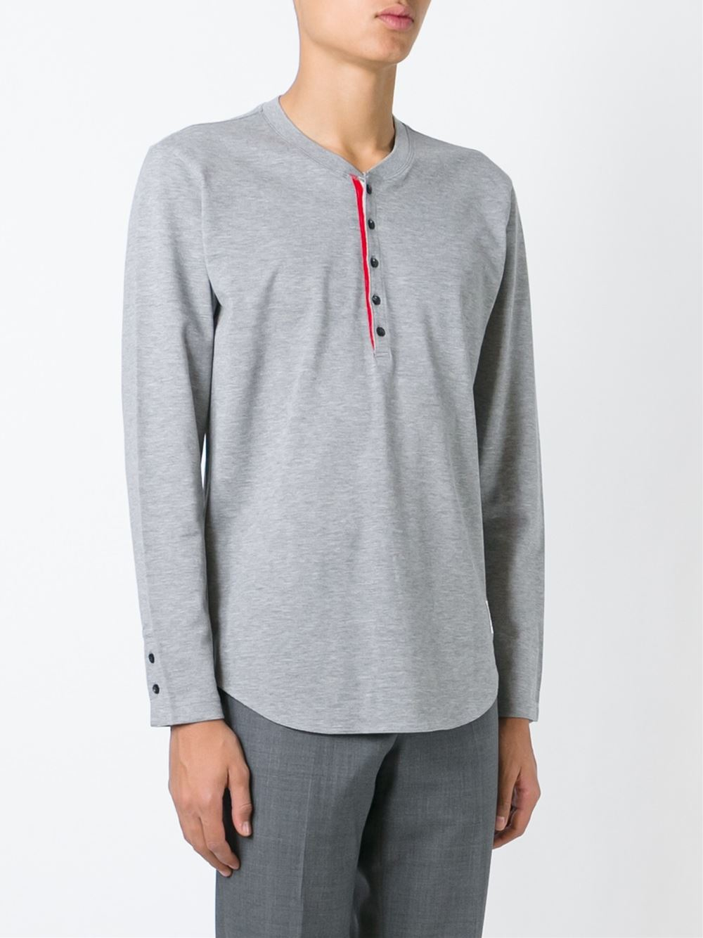 Lyst thom browne piqu henley long sleeve t shirt in for Thom browne t shirt
