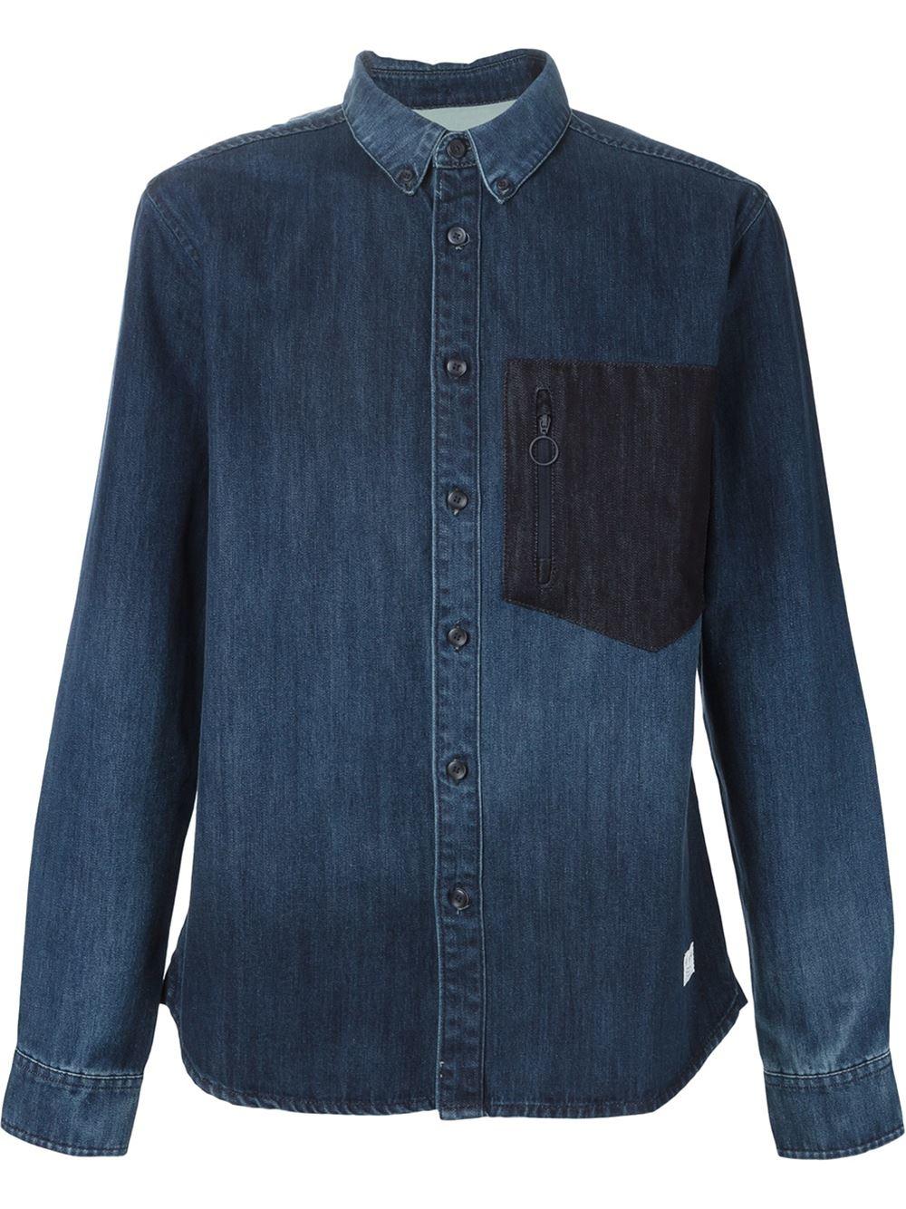 Adidas originals button down denim shirt in blue for men for Denim button down shirts