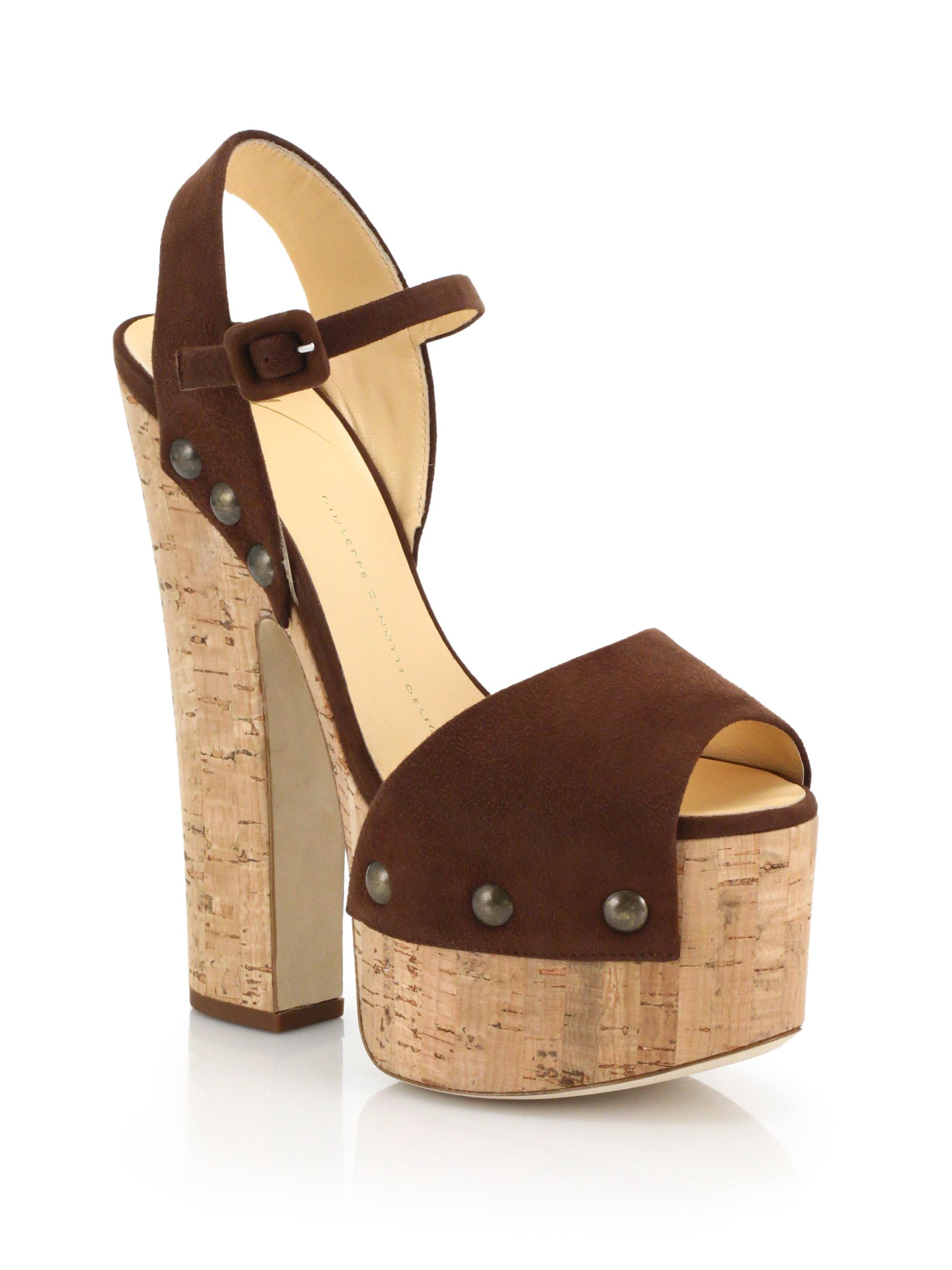giuseppe zanotti suede platform sandals in brown lyst