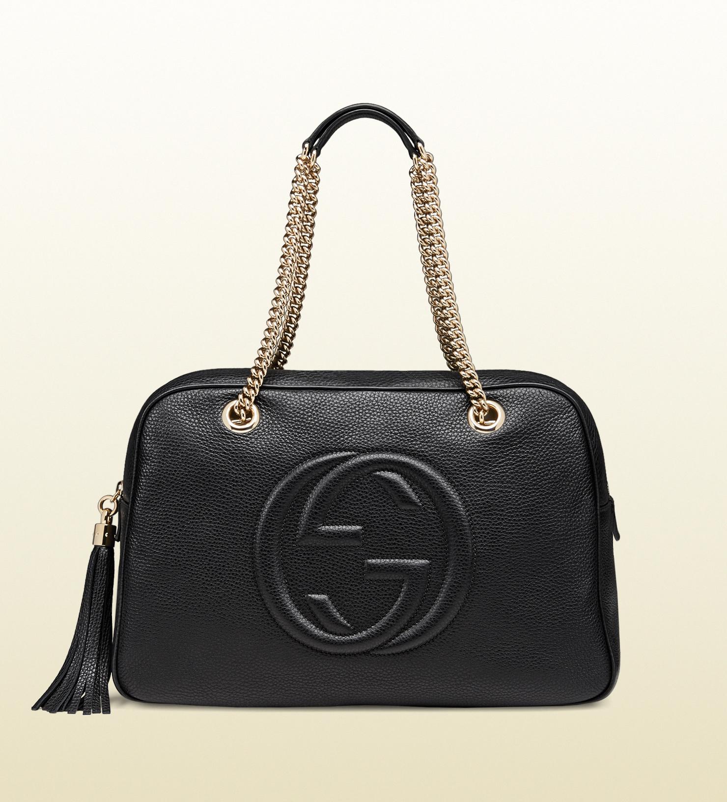 Lyst - Gucci Soho Leather Shoulder Bag in Black