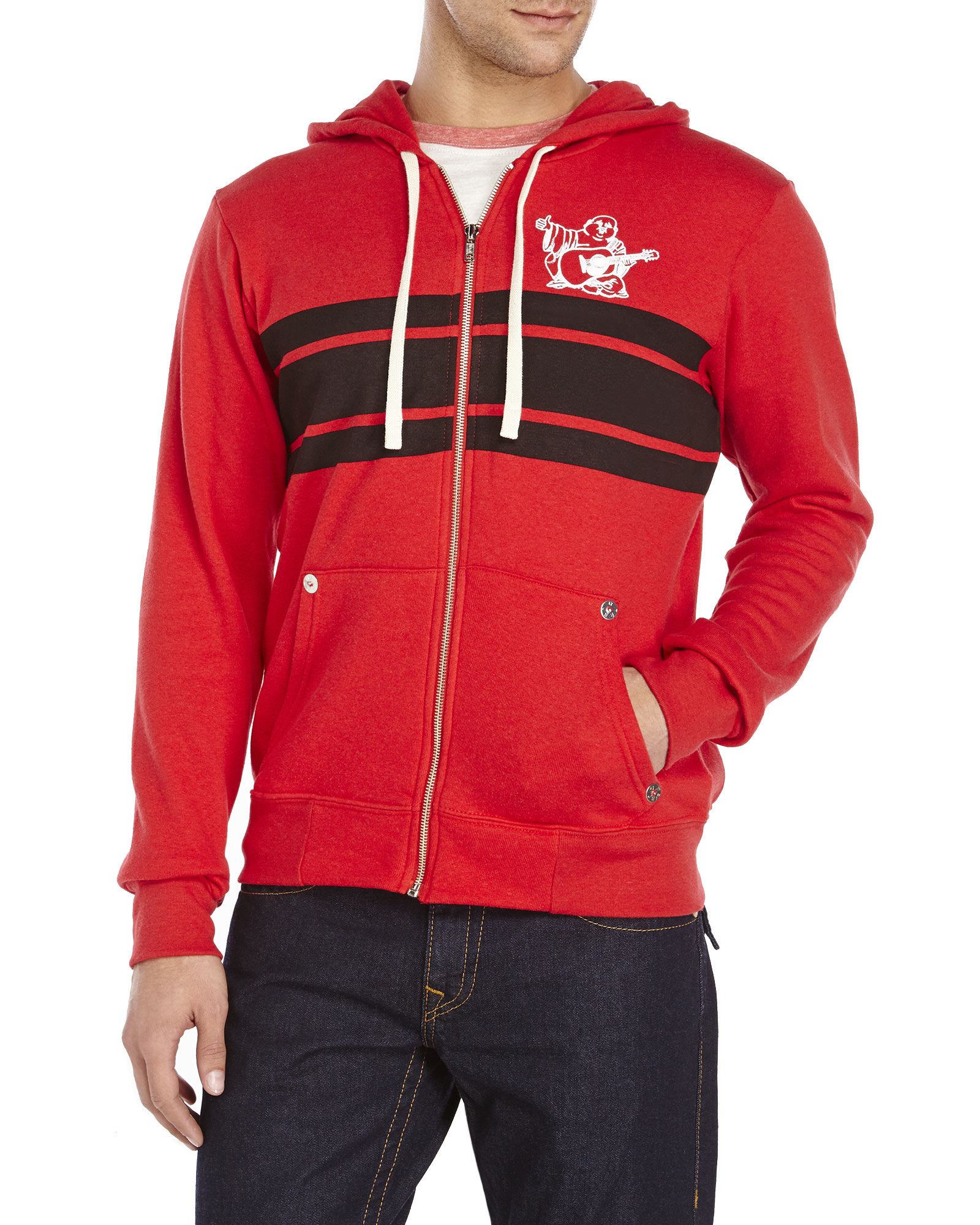 lyst true religion varsity buddha hoodie in red for men. Black Bedroom Furniture Sets. Home Design Ideas
