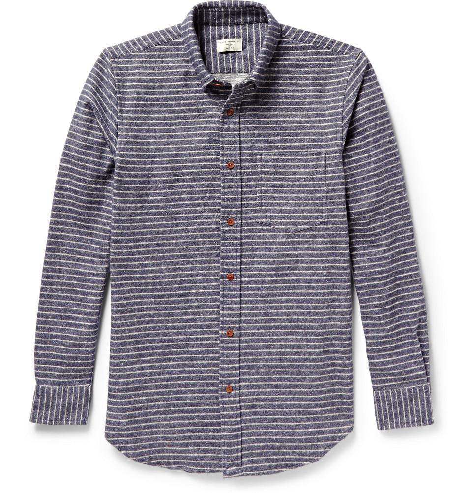 Club monaco striped button down collar flannel shirt in for Striped button down shirts for men