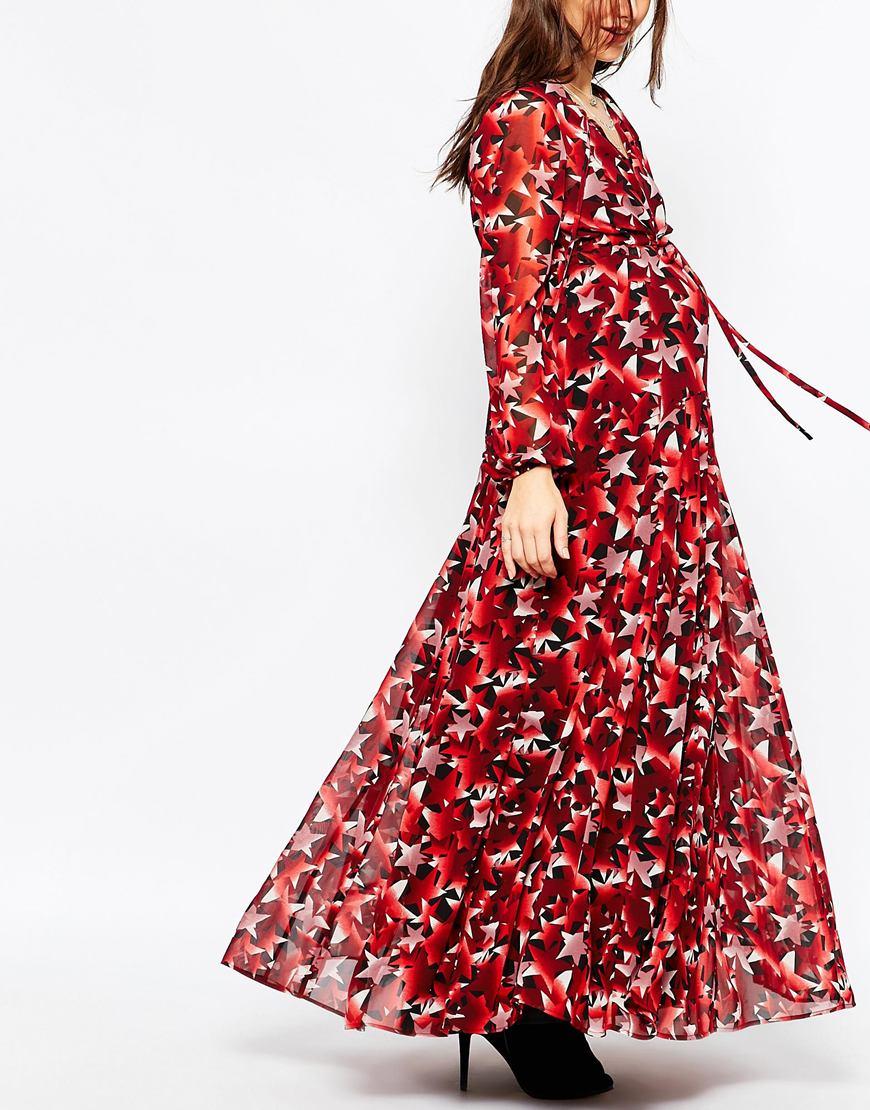 22295dfd80e Lyst - ASOS Maxi Dress In Star Print