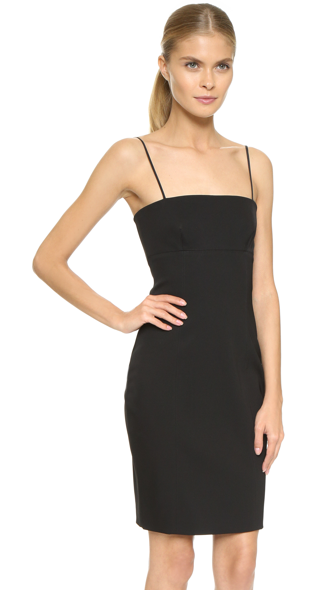 Alexander wang Fitted Knit Panel Dress - Nocturnal in Black | Lyst