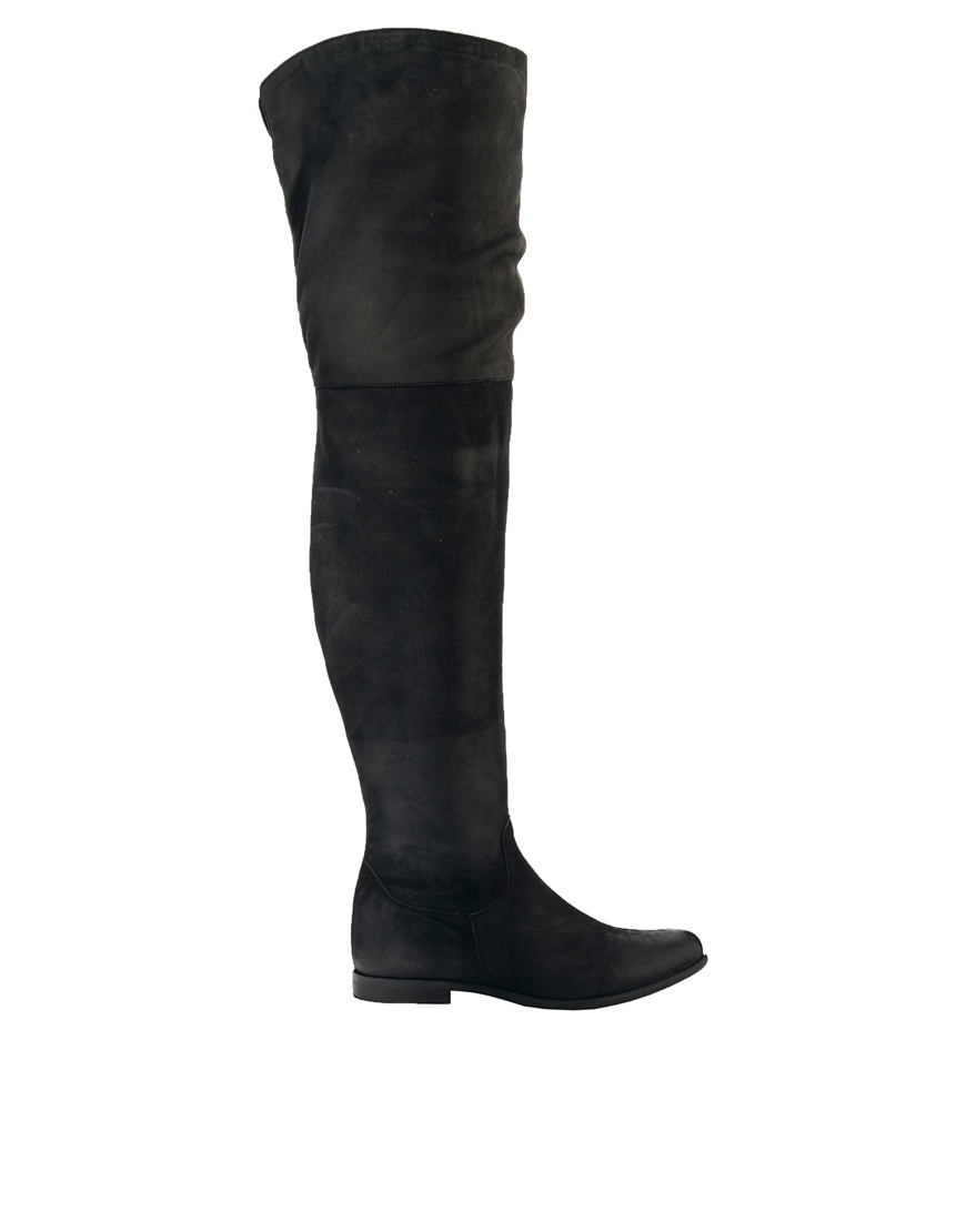 Asos Keep It Up Leather Thigh High Boots in Black | Lyst