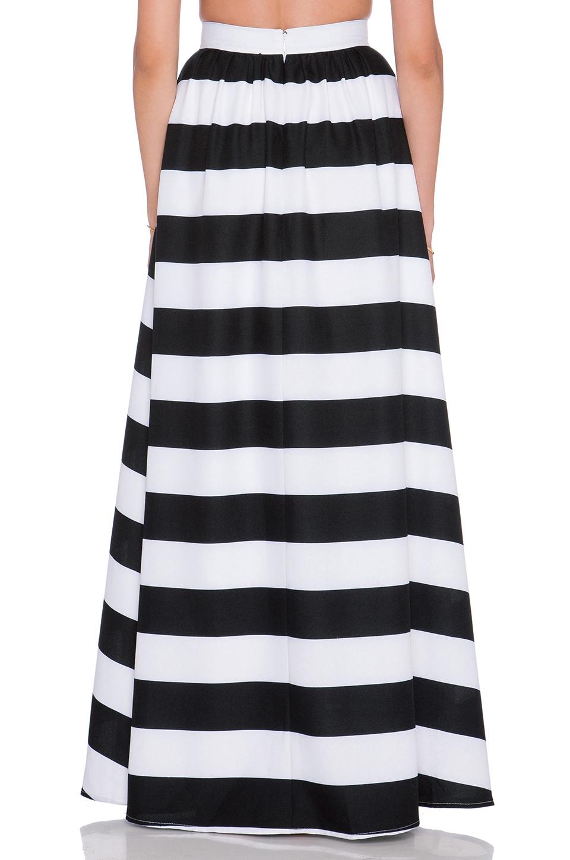 1c9bac29170 Lyst - Blaque Label Striped Maxi Skirt in Black