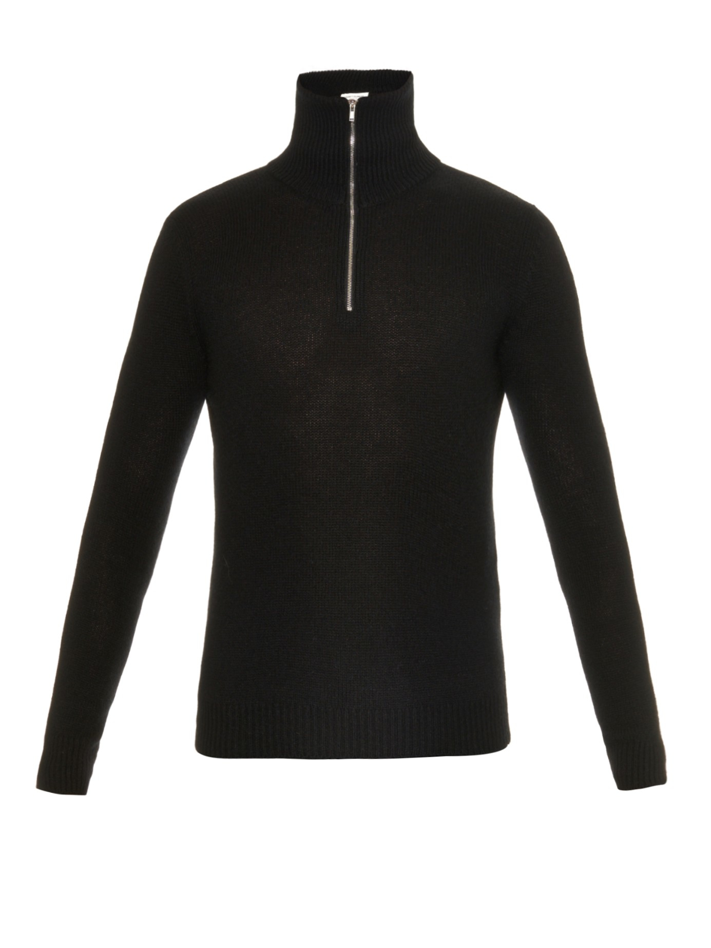 Saint laurent Zip-up Wool Sweater in Black for Men | Lyst