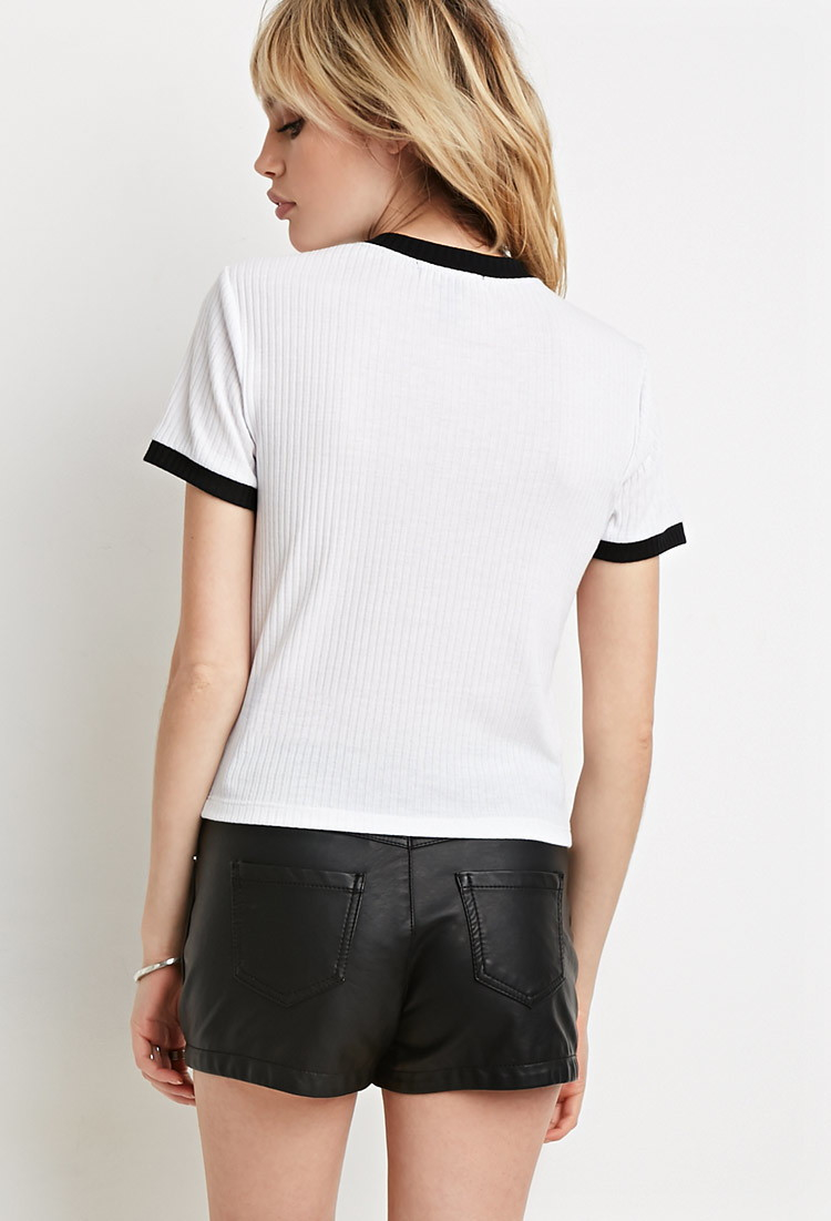 Clothes Ringer 2015 ~ Lyst forever ribbed knit ringer tee in black