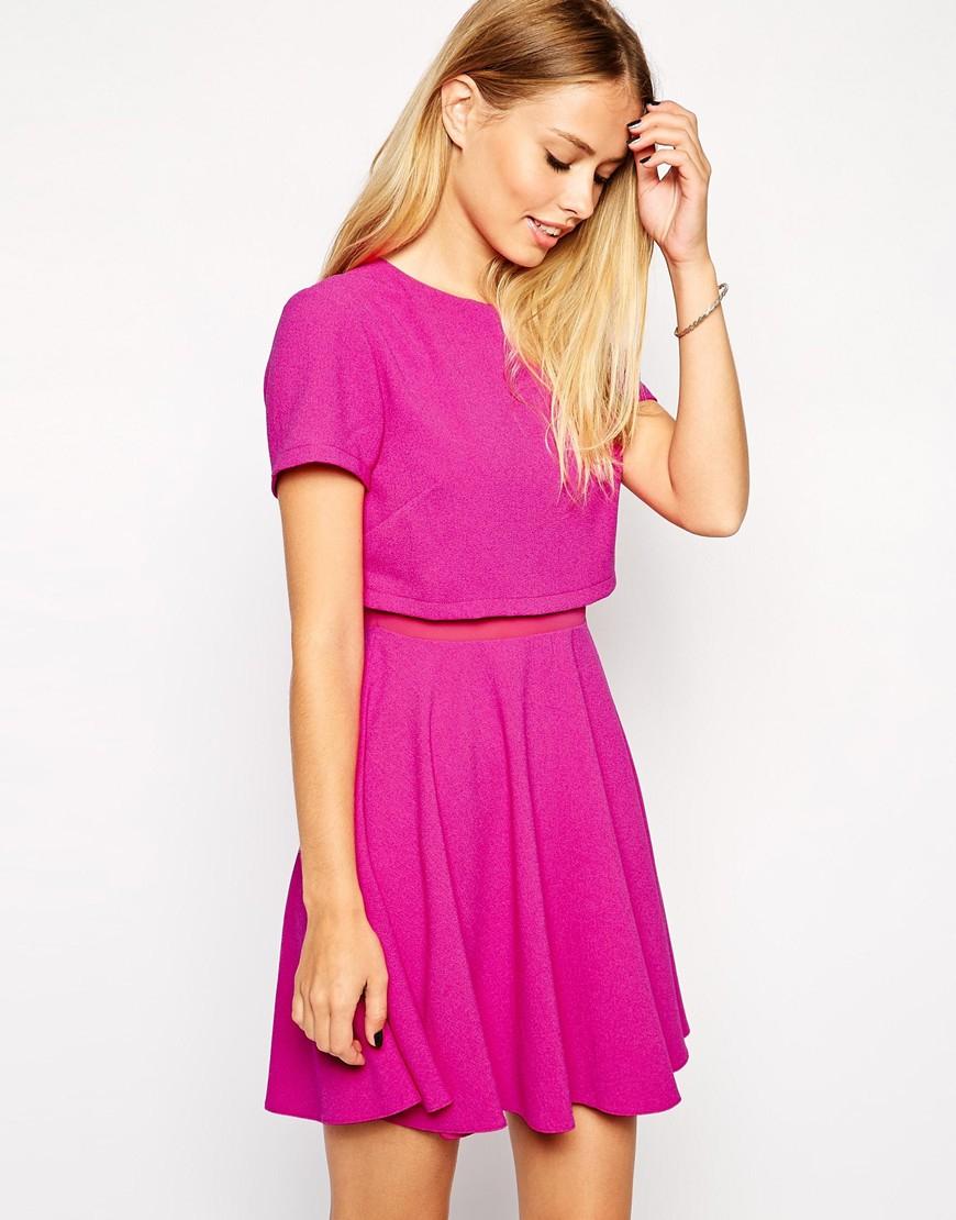 Lyst - ASOS Crop Top Mesh Insert Skater Dress in Purple e0eb96d57