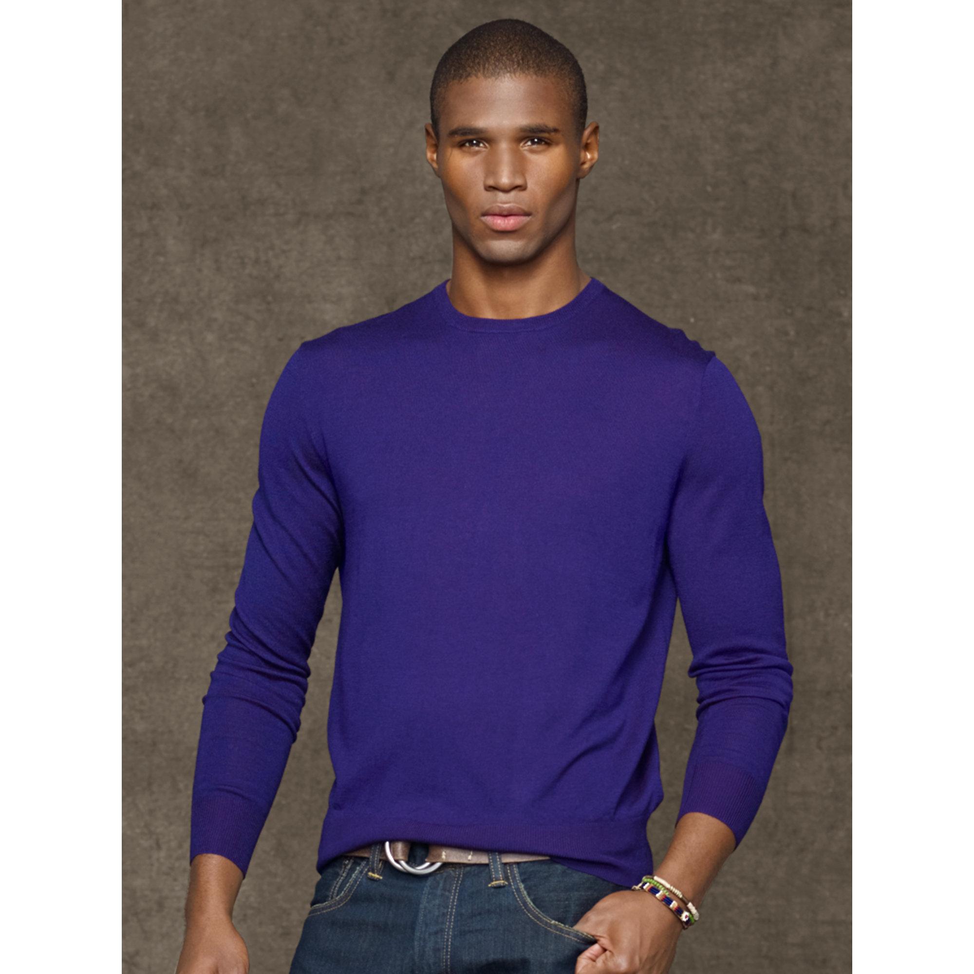 Polo ralph lauren Merino Wool Crewneck Sweater in Purple for Men ...