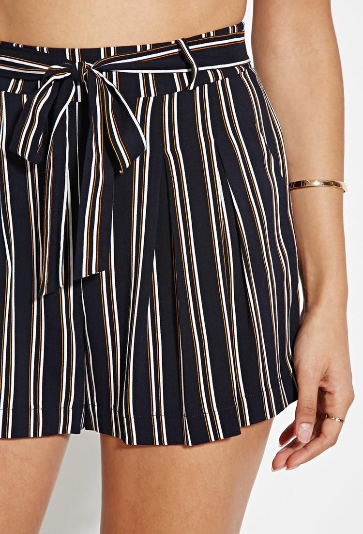 Forever 21 Vertical Stripe Shorts in Blue | Lyst