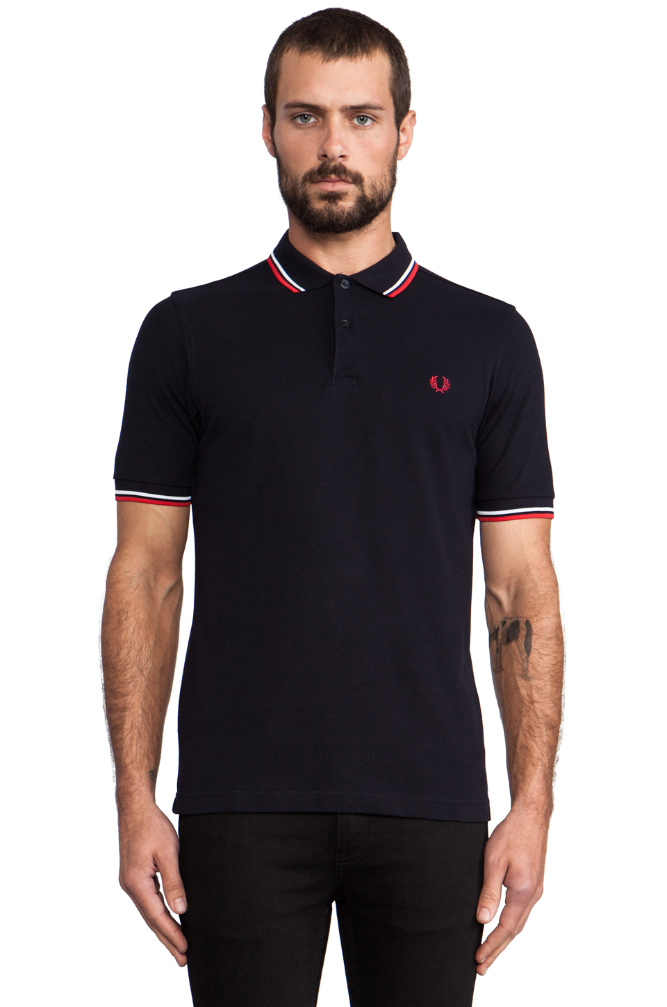 Stussy slim fit twin tipped shirt in black for men lyst Fred perry mens shirts sale