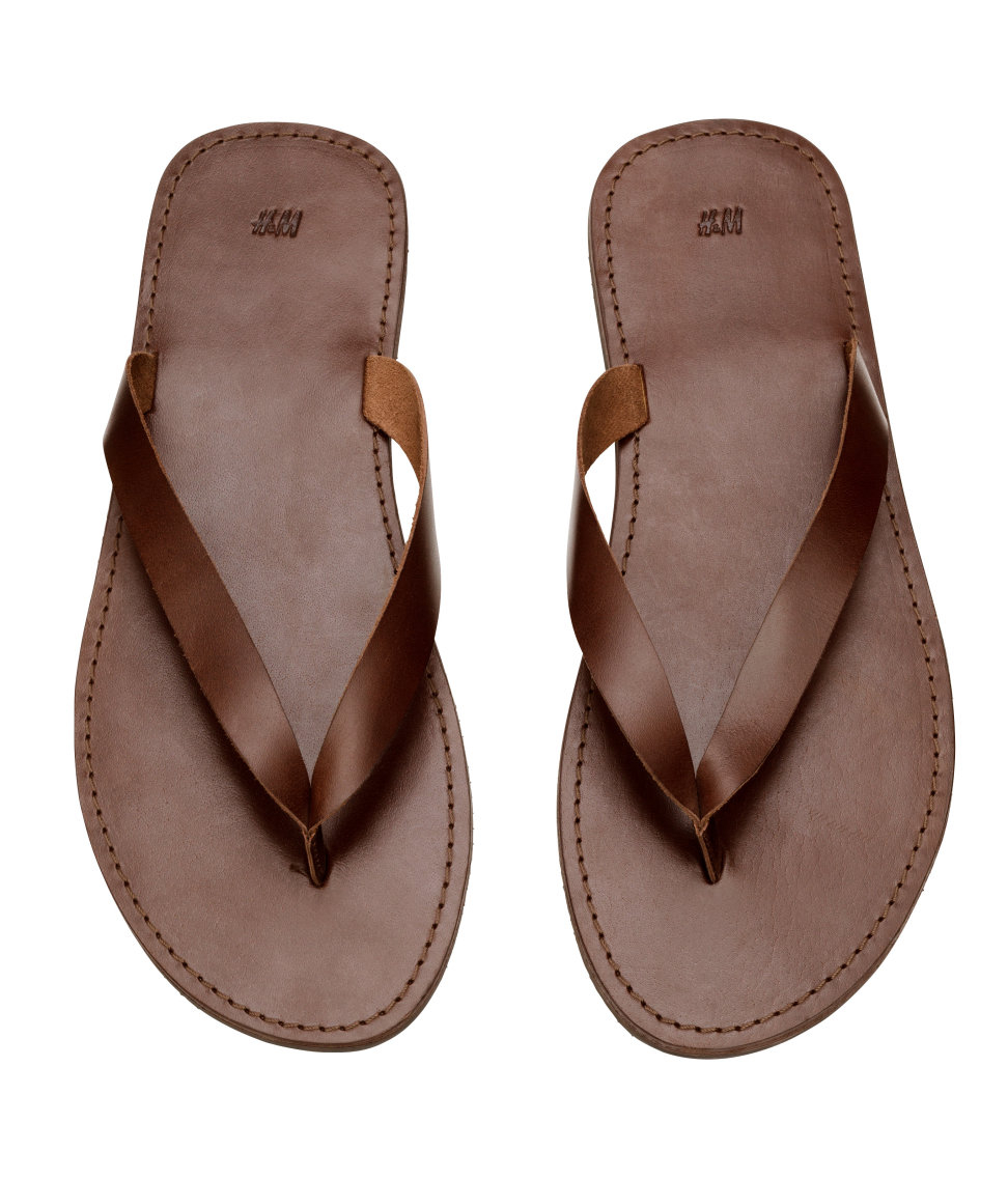Hm Leather Flip-Flops In Brown For Men - Lyst-7507