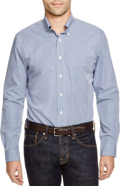Brooks brothers micro gingham classic fit button down for Brooks brothers dress shirt fit guide