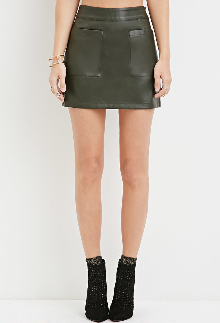 Forever 21 Faux Leather Mini Skirt in Green | Lyst
