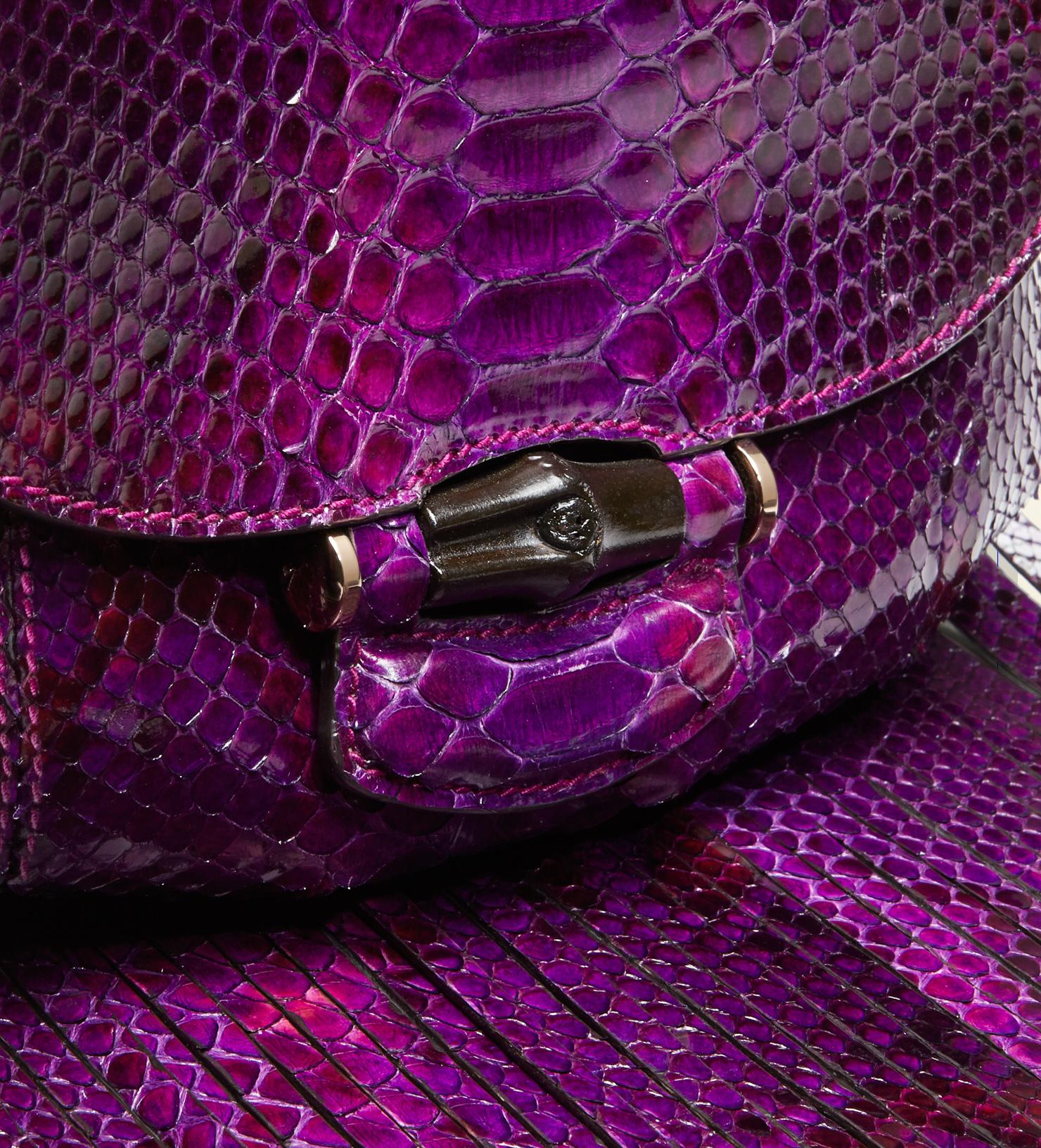 Gucci Nouveau Python Fringed Shoulder Bag In Purple Lyst