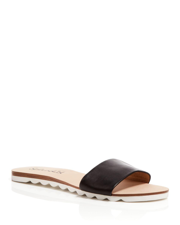 cc08ceca0e689 Lyst - Splendid Open Toe Flat Slide Sandals - Paige in Black