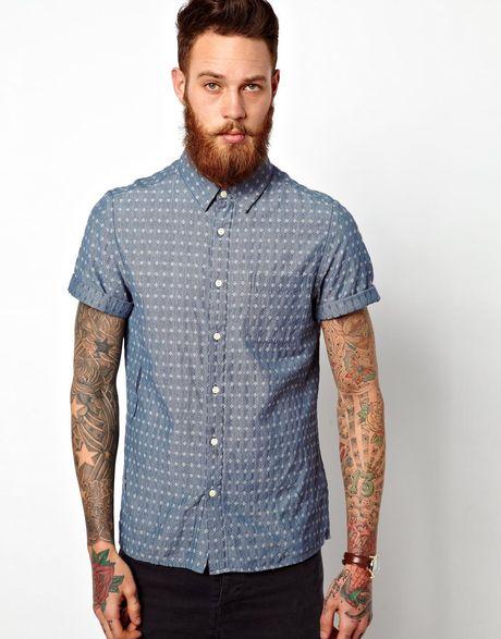 Asos Dobby Chambray Shirt In Short Sleeve In Blue For Men