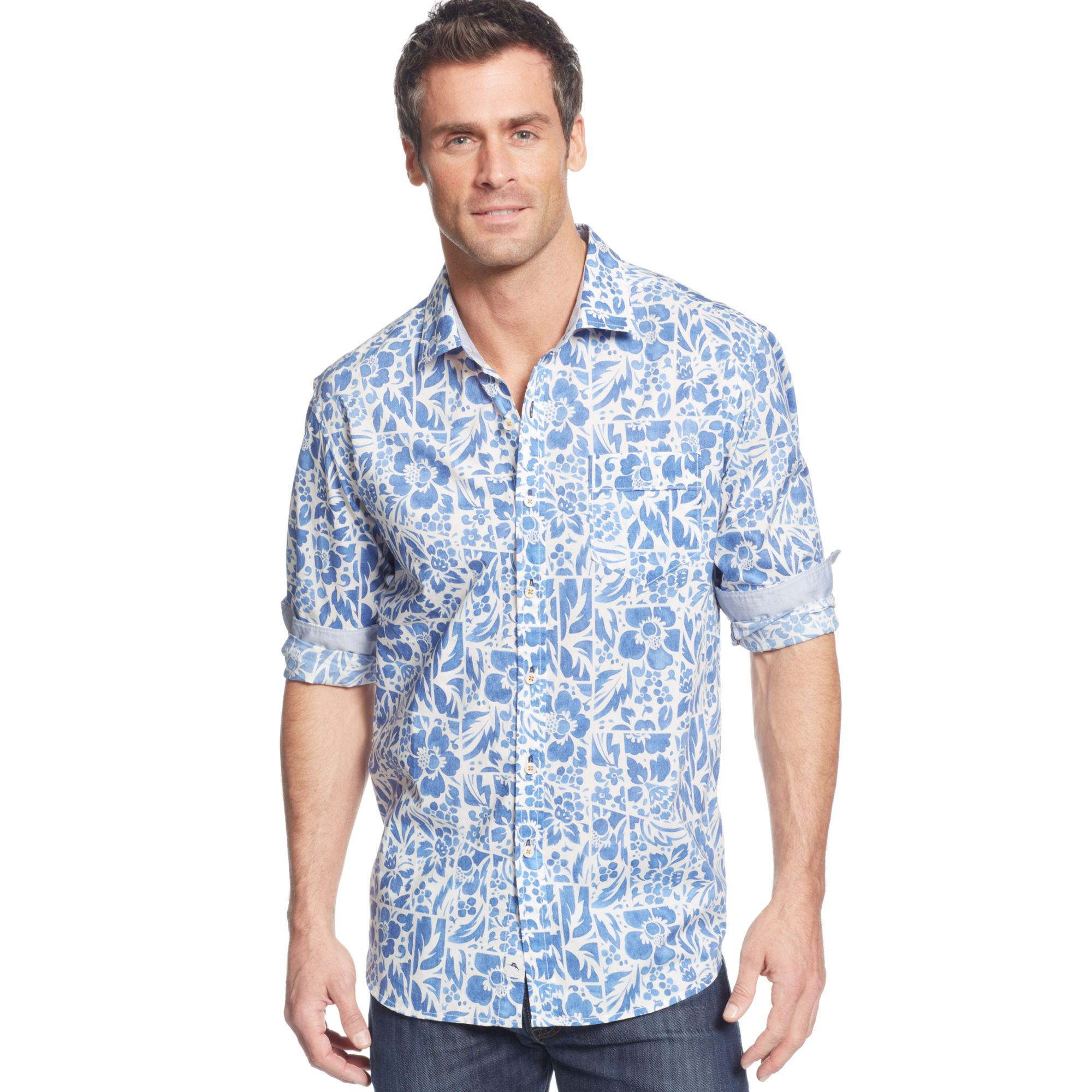 Tommy Bahama Tropical Breaker Print Shirt In Blue For Men