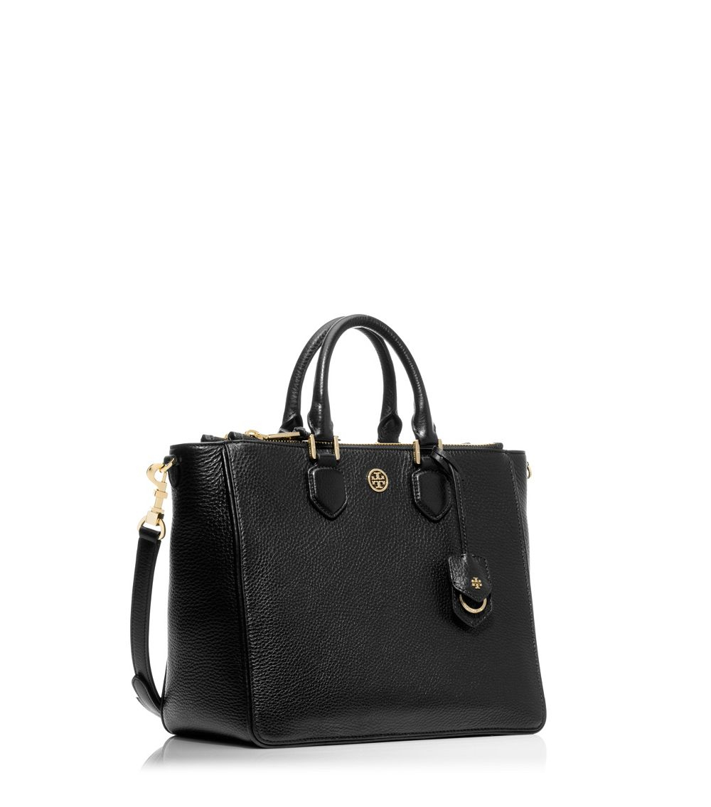 d032162db30 Tory Burch Robinson Pebbled Square Tote in Black - Lyst