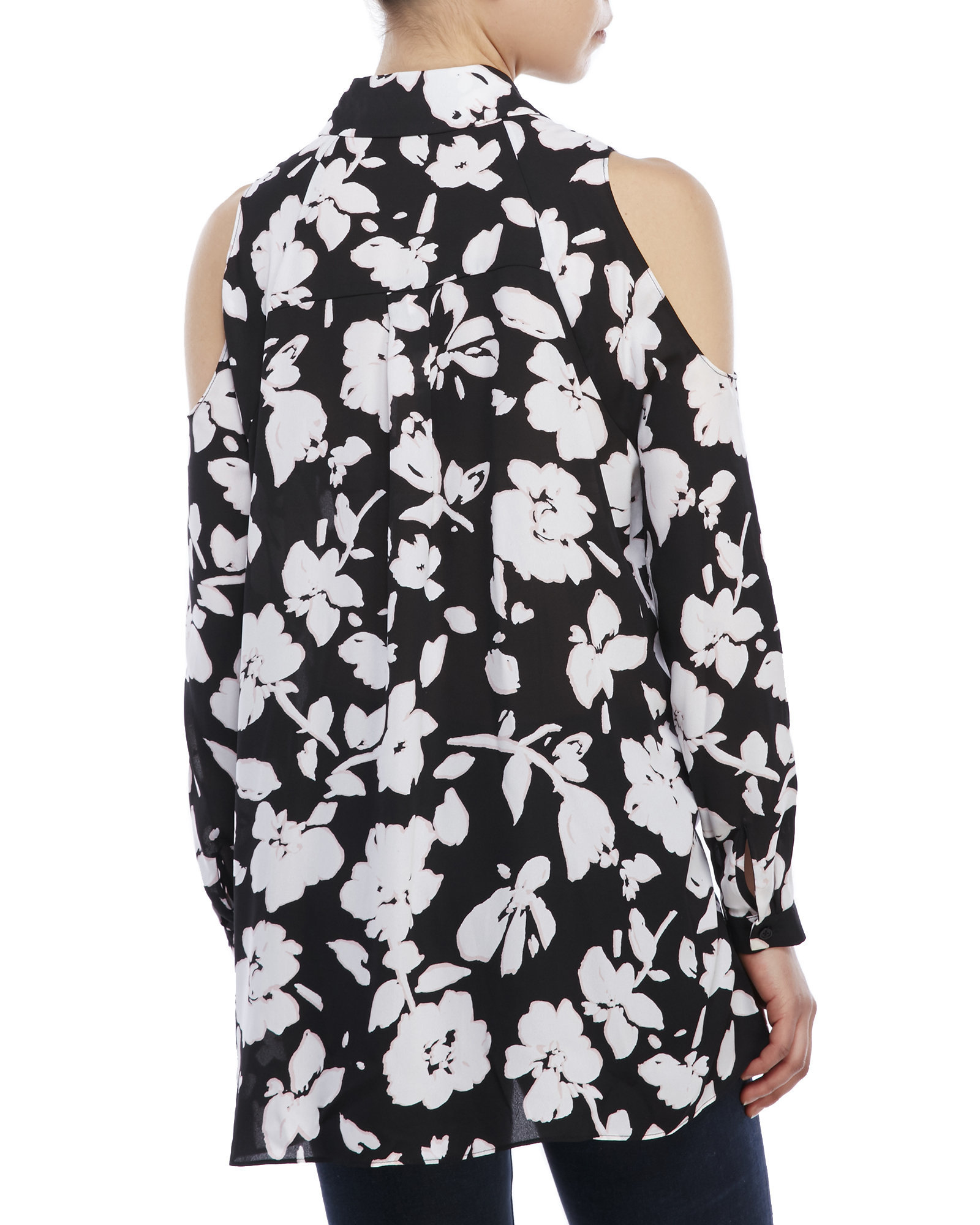 f657ee995c3d9e Lyst - ABS By Allen Schwartz Black Floral Cold Shoulder Blouse in Black