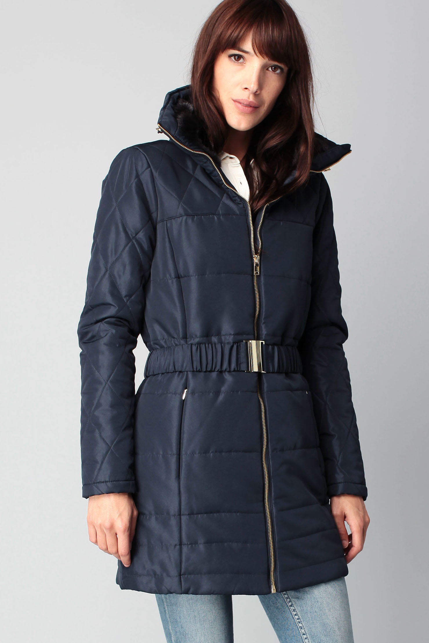 vero moda quilted jacket in blue lyst. Black Bedroom Furniture Sets. Home Design Ideas
