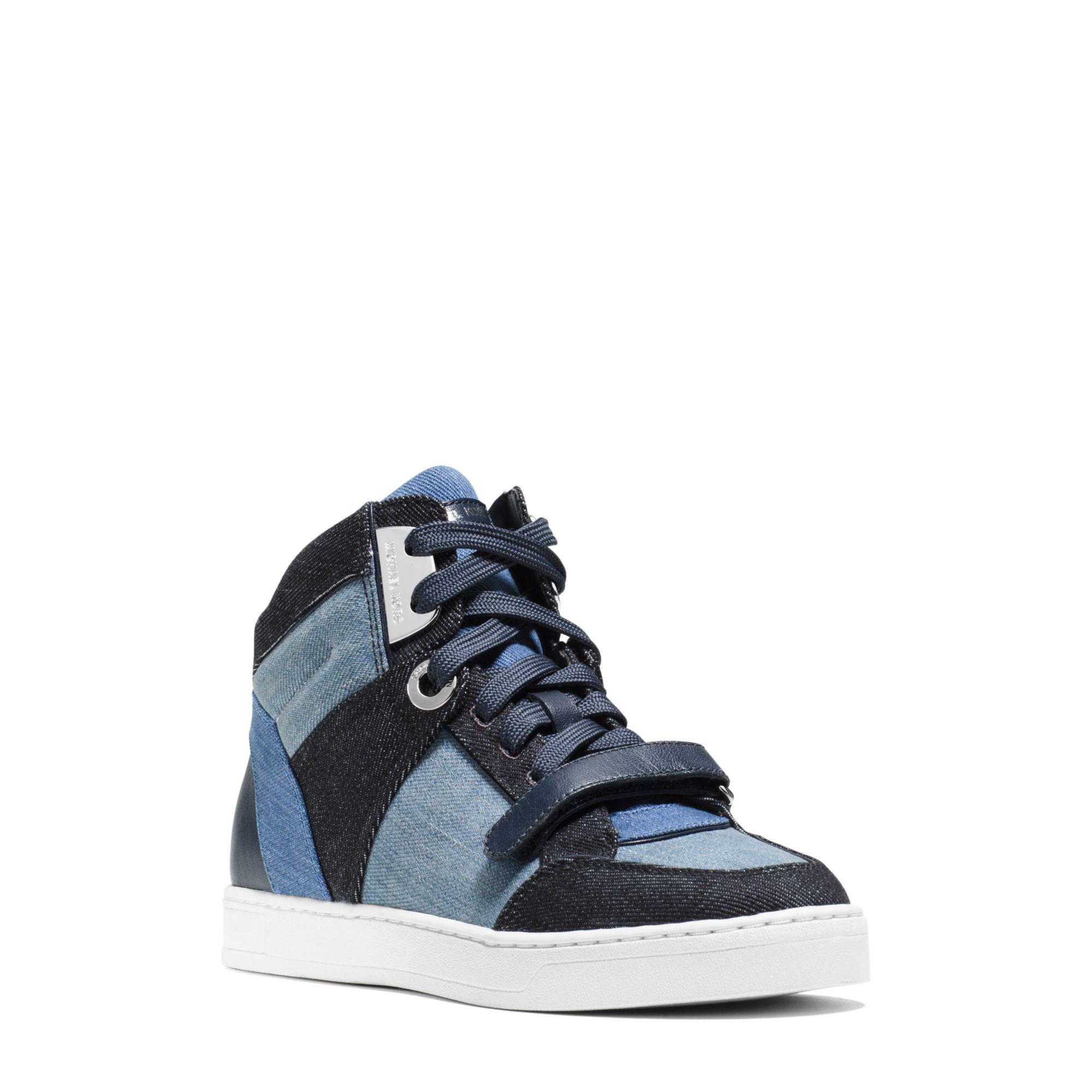 michael kors ollie high top denim sneaker in blue lyst. Black Bedroom Furniture Sets. Home Design Ideas