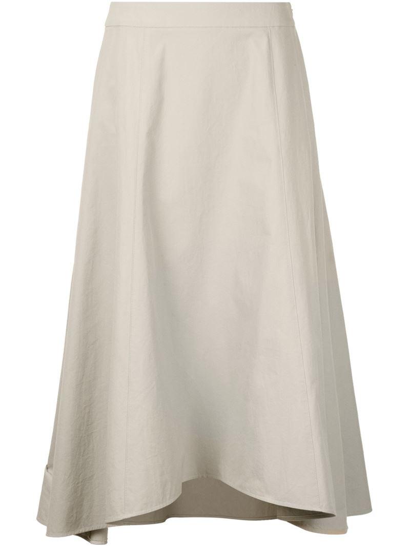 astraet asymmetric midi skirt in white lyst