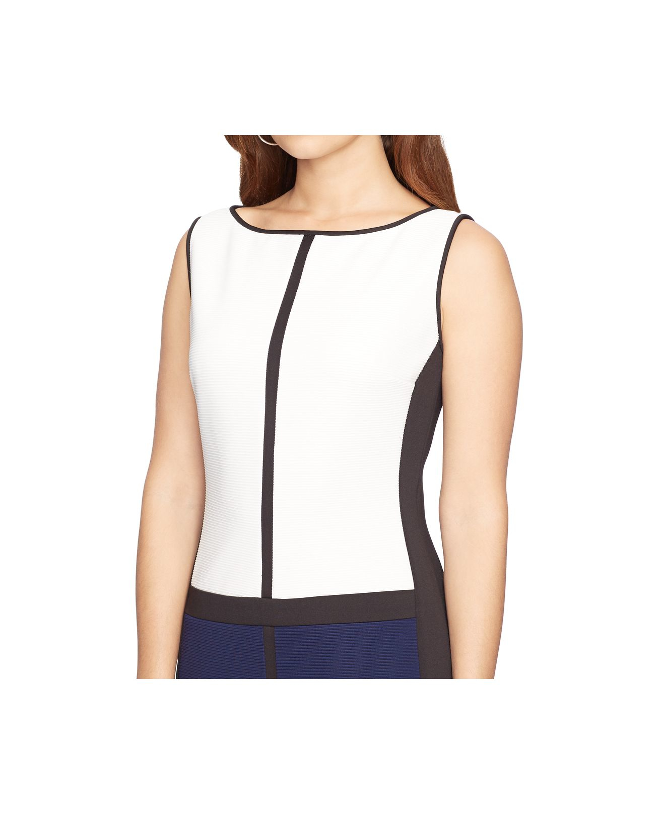 American Living Colorblocked Sleeveless Dress In White Lyst