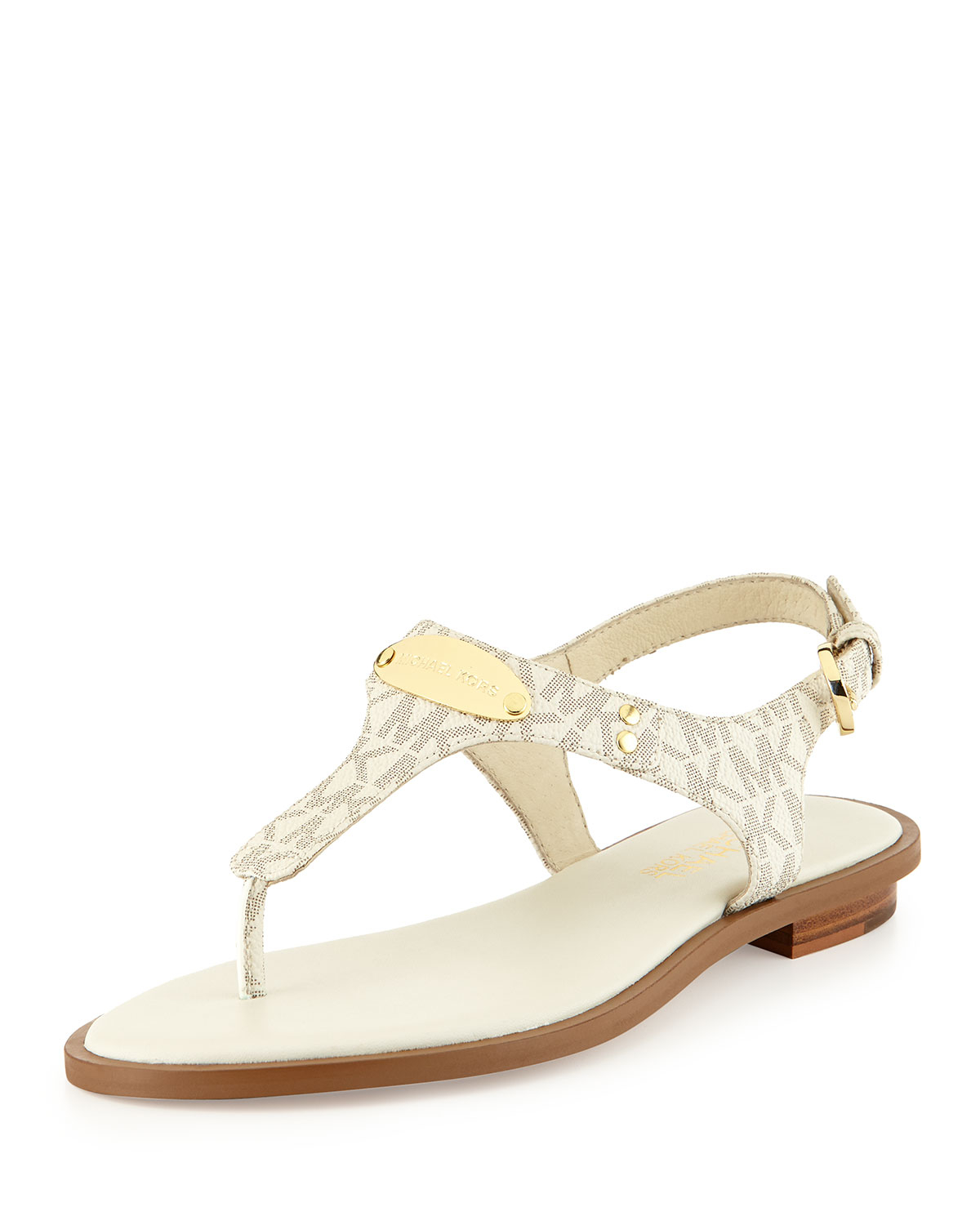 814f7c479e5 Lyst - MICHAEL Michael Kors Logo-Detail Leather Sandals in White