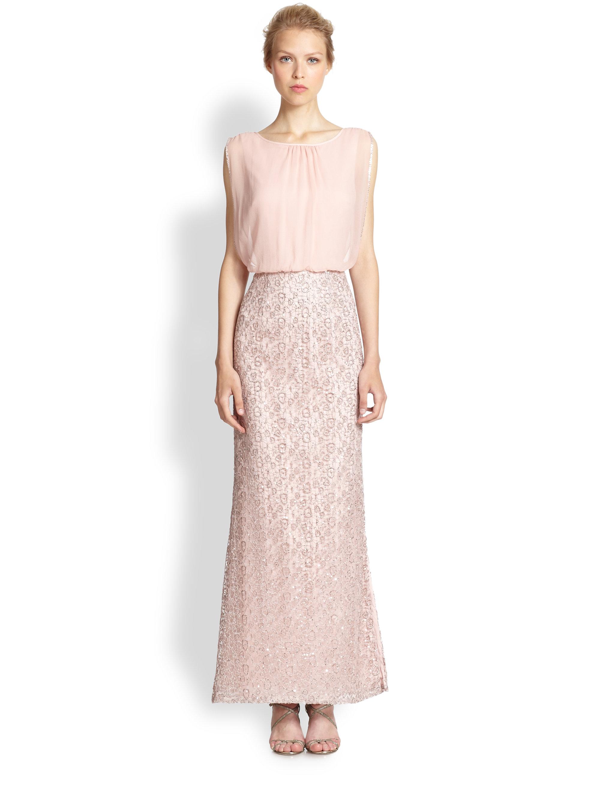 Lyst - Aidan Mattox Chiffon & Lace Blouson-Bodice Gown in Pink