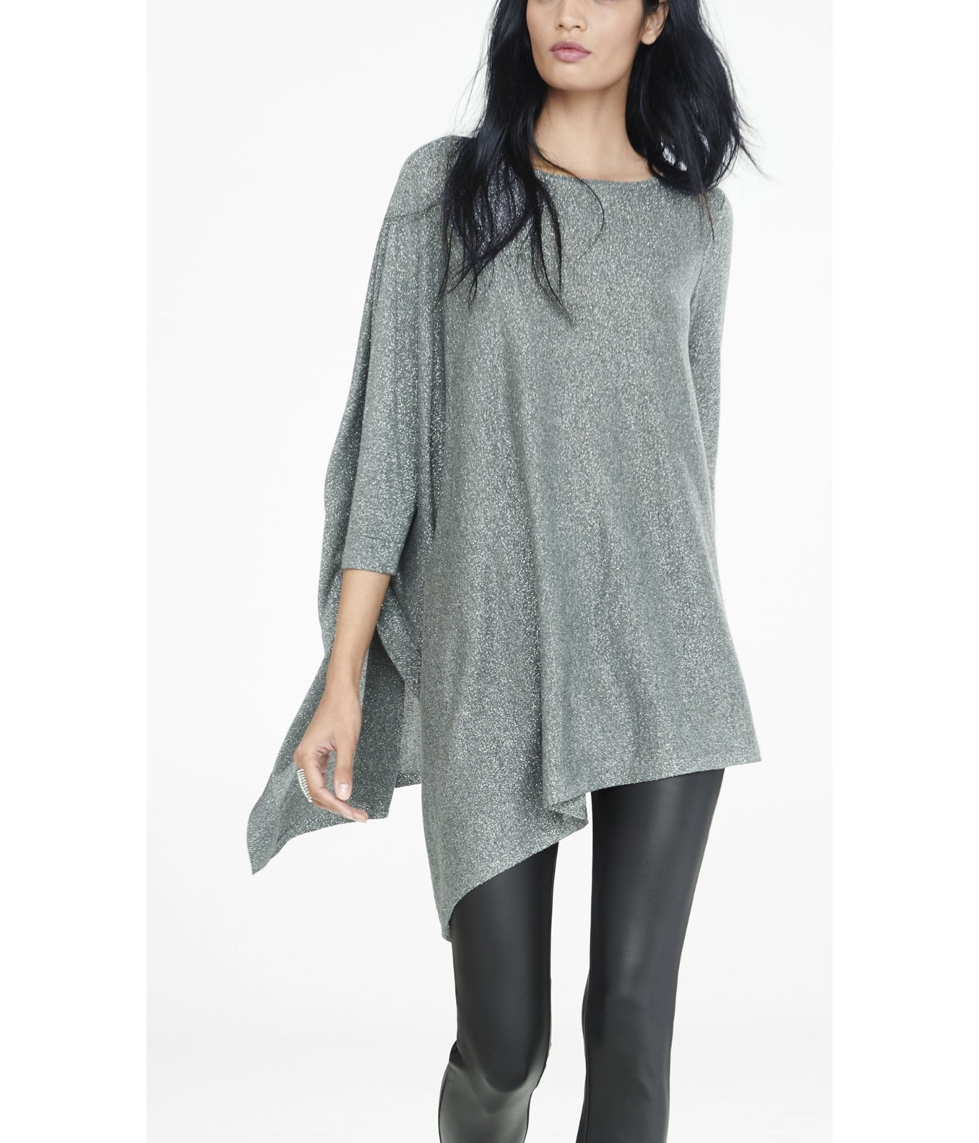 Express Metallic Extreme Asymmetrical Tunic Sweater in Gray | Lyst