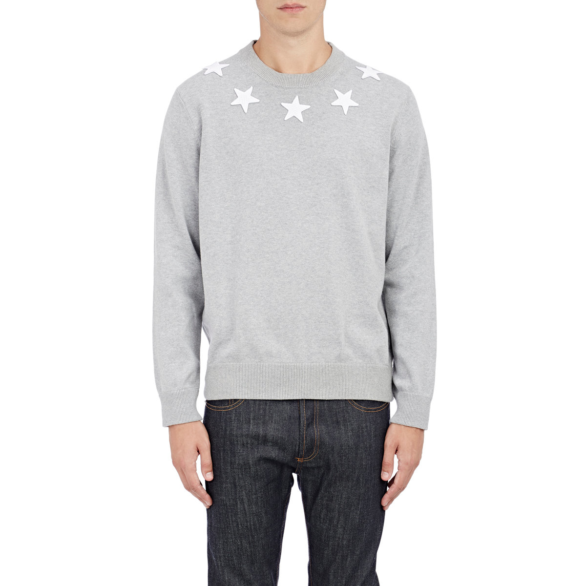 givenchy varsity star embroidered sweater in gray for men. Black Bedroom Furniture Sets. Home Design Ideas
