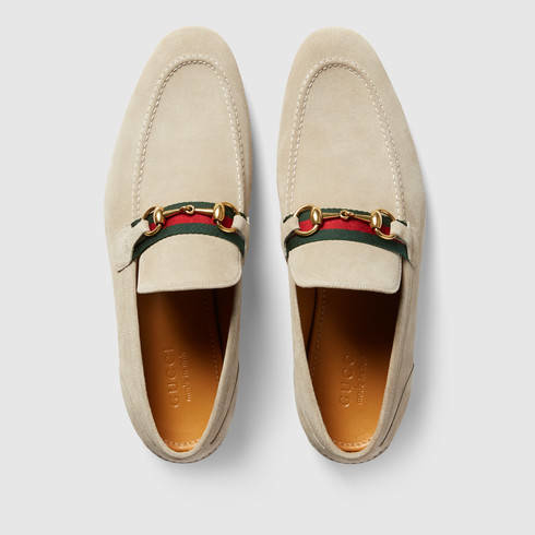 959057bbbb7 Lyst - Gucci Horsebit Suede Loafer With Web in Natural for Men