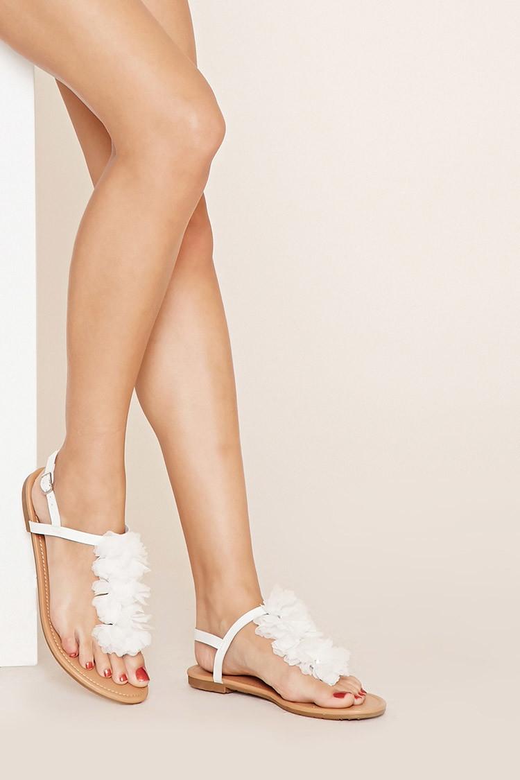 Forever 21 Rhinestone Flower Sandals In White Lyst