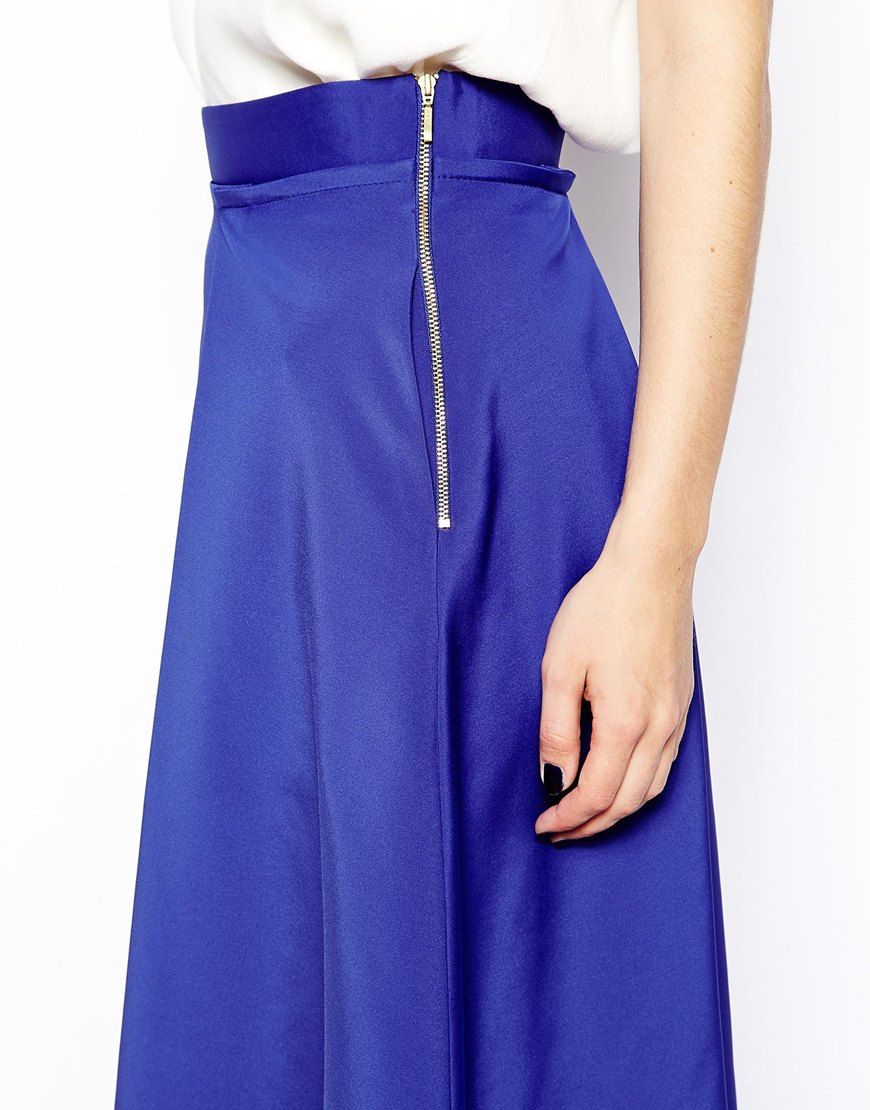 coast dionysus midi skirt in blue lyst
