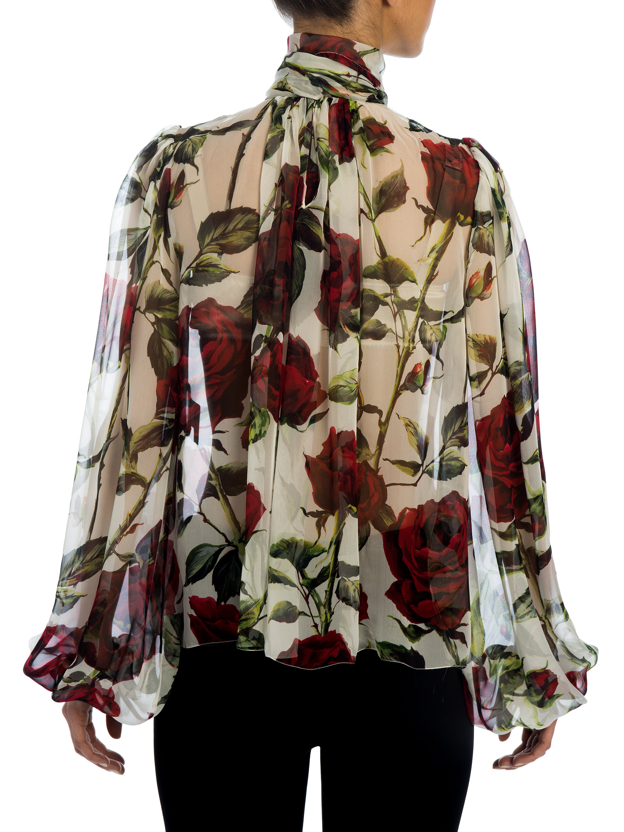 8a05d92a06b79 Lyst - Dolce   Gabbana Rose Silk Chiffon Tie-neck Blouse in Red