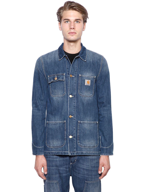 Lyst - Carhartt Michigan Chore Cotton Denim Jacket in Blue ...