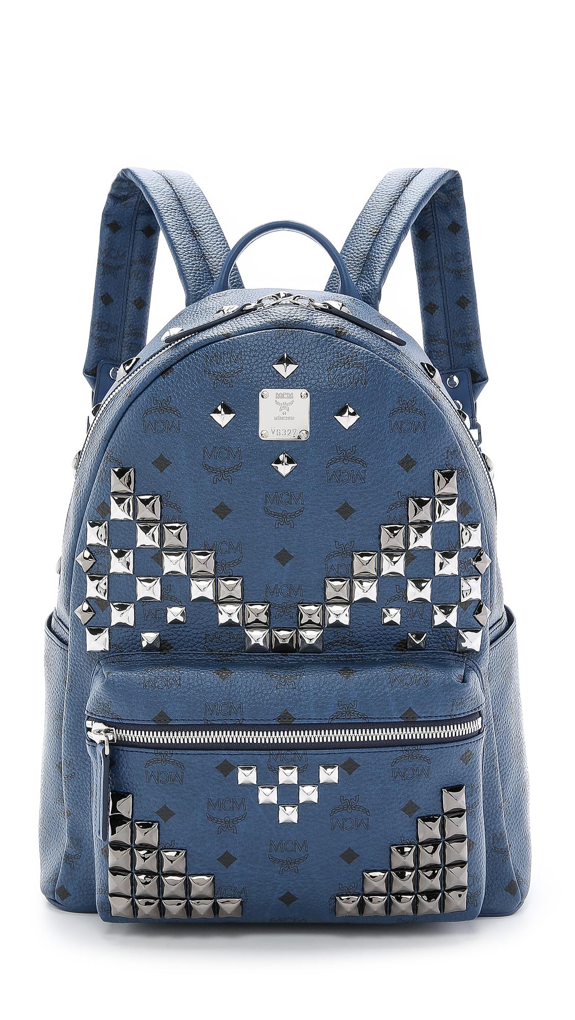 Lyst Mcm M Studded Stark Backpack In Blue For Men