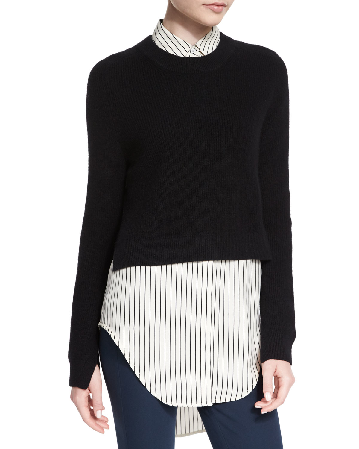 15cfbd99dc Lyst - Rag   Bone Valentina Cropped Cashmere Sweater in Black