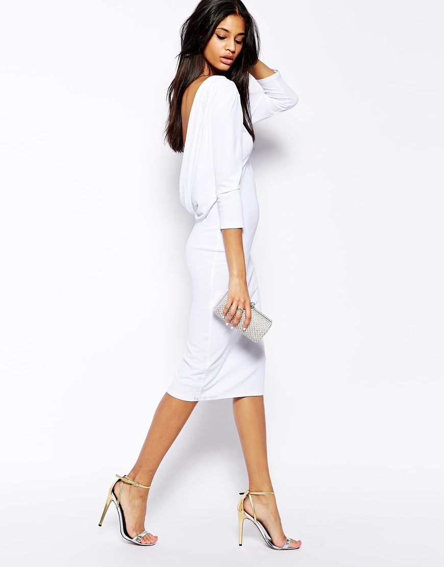 Lyst Asos Cowl Back Midi Bodycon Dress In White